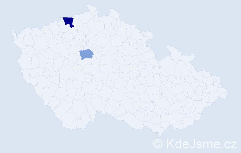 Příjmení: 'Ach', počet výskytů 3 v celé ČR
