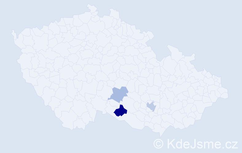 Příjmení: 'Binev', počet výskytů 5 v celé ČR