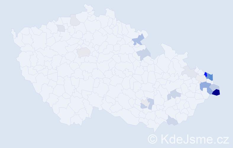 Příjmení: 'Chylková', počet výskytů 61 v celé ČR