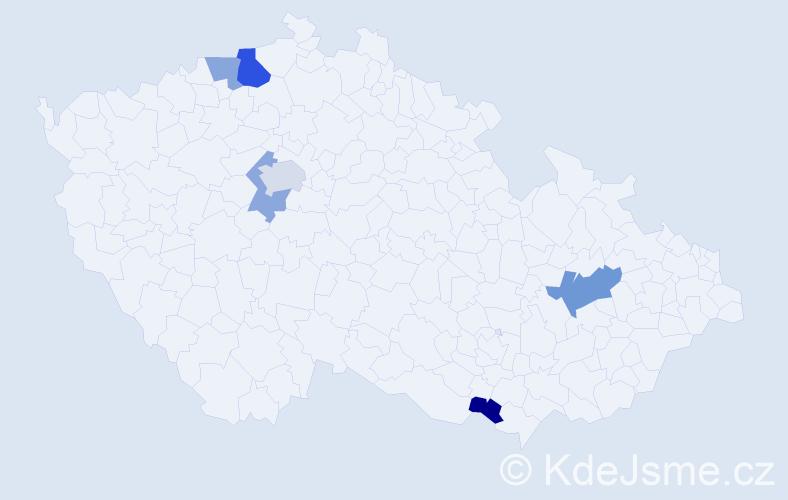 Příjmení: 'Kačkoš', počet výskytů 10 v celé ČR
