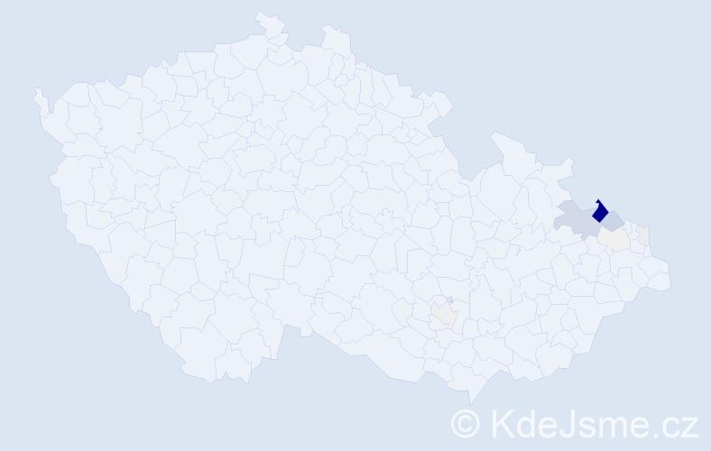 Příjmení: 'Kerlin', počet výskytů 43 v celé ČR