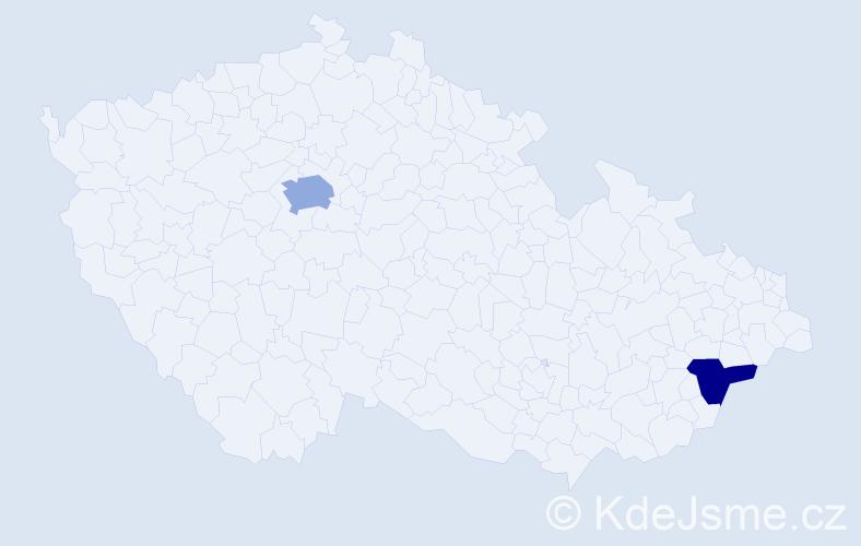 Příjmení: 'Ducko', počet výskytů 3 v celé ČR