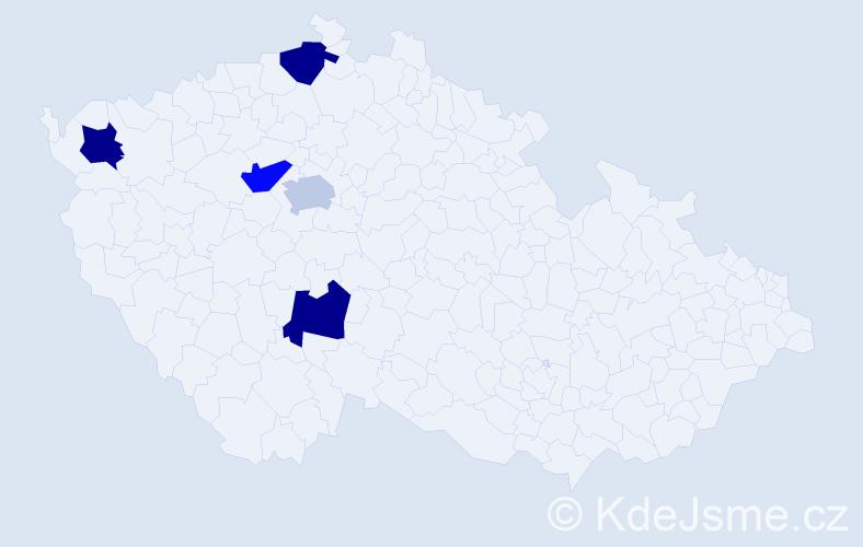 Příjmení: 'Kuľa', počet výskytů 5 v celé ČR