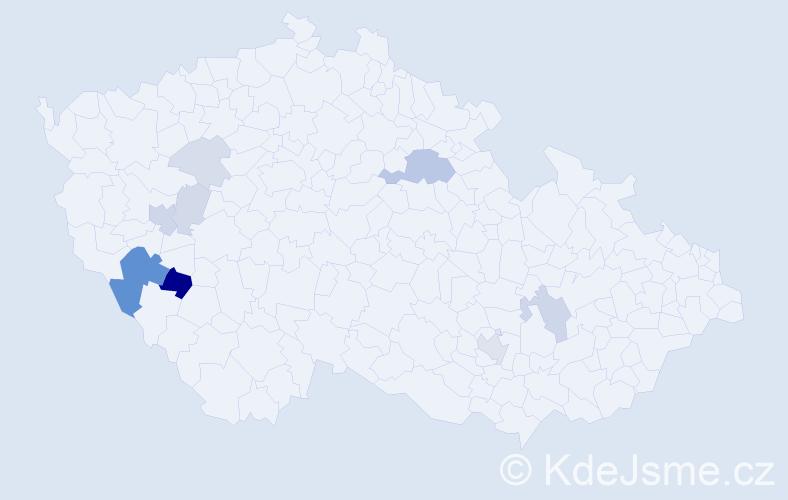 Příjmení: 'Ibrmajer', počet výskytů 25 v celé ČR