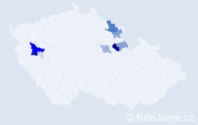 Příjmení: 'Guldán', počet výskytů 18 v celé ČR
