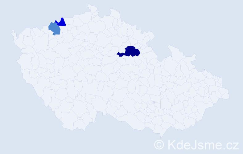 Příjmení: 'Eiermann', počet výskytů 5 v celé ČR