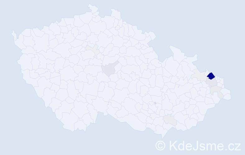 Příjmení: 'Kalvar', počet výskytů 68 v celé ČR