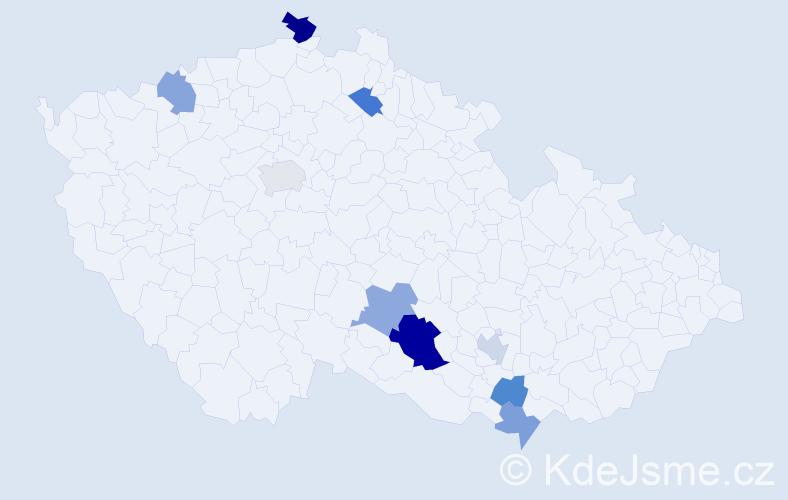 Příjmení: 'Jaburková', počet výskytů 13 v celé ČR