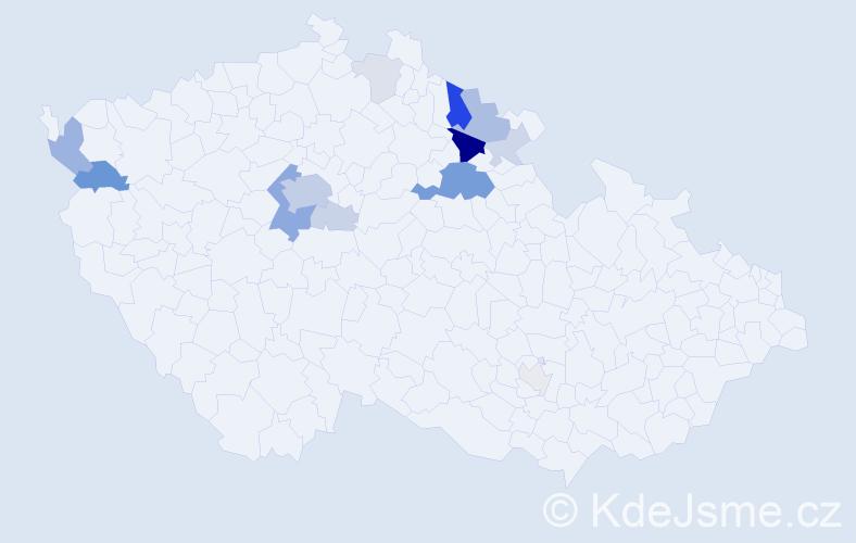 Příjmení: 'Elišák', počet výskytů 45 v celé ČR
