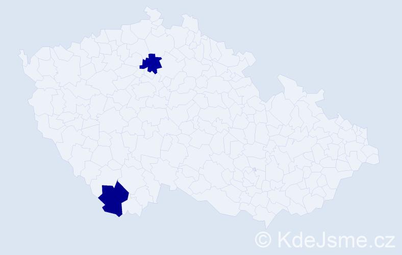 Příjmení: 'Judinyová', počet výskytů 2 v celé ČR
