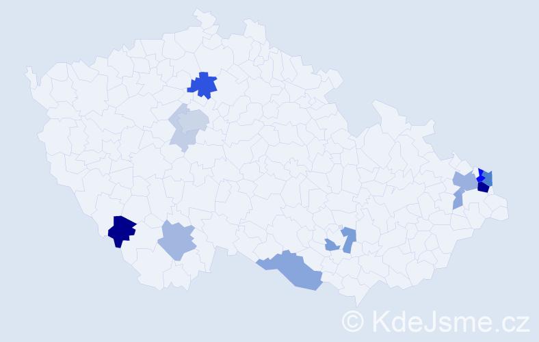 Příjmení: 'Frej', počet výskytů 40 v celé ČR
