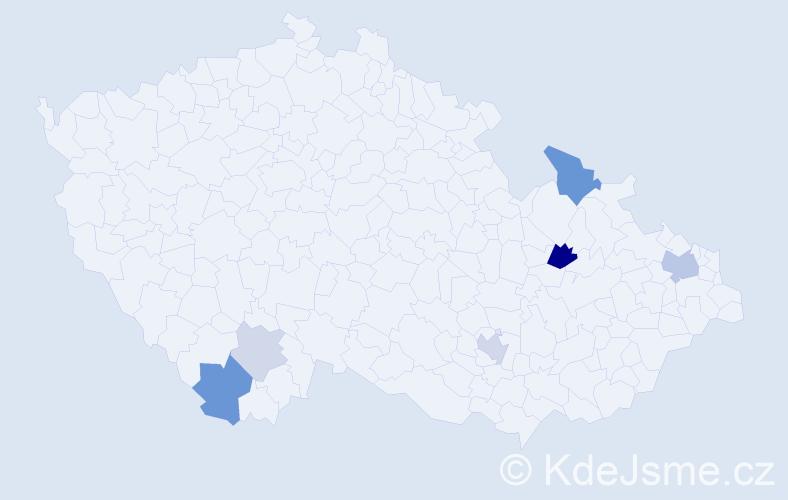 Příjmení: 'Bandik', počet výskytů 13 v celé ČR