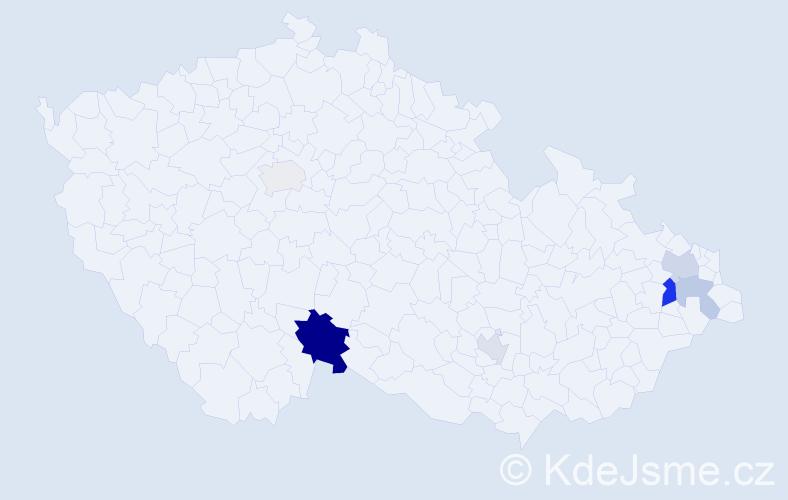 Příjmení: 'Fabrigerová', počet výskytů 25 v celé ČR