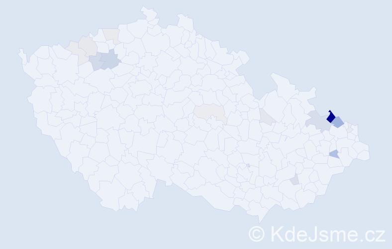 Příjmení: 'Fus', počet výskytů 57 v celé ČR