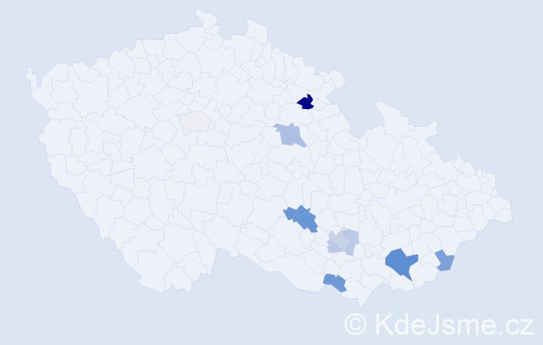 Příjmení: 'Bedrošová', počet výskytů 19 v celé ČR
