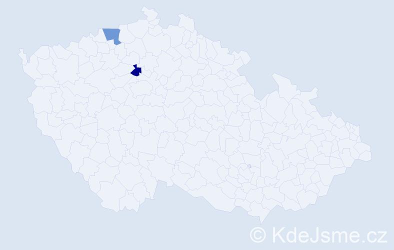 Příjmení: 'Čižkovská', počet výskytů 2 v celé ČR