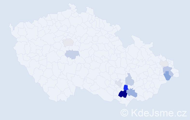 Příjmení: 'Drmela', počet výskytů 23 v celé ČR