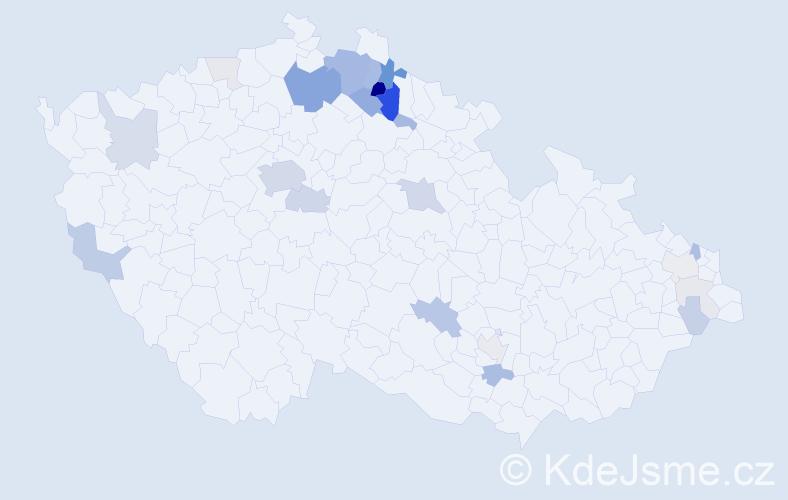 Příjmení: 'Jakubičková', počet výskytů 84 v celé ČR