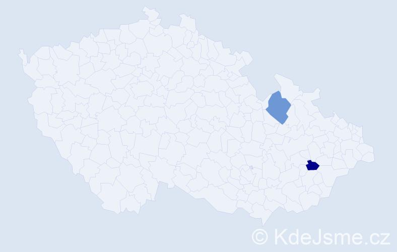 Příjmení: 'Holintová', počet výskytů 5 v celé ČR