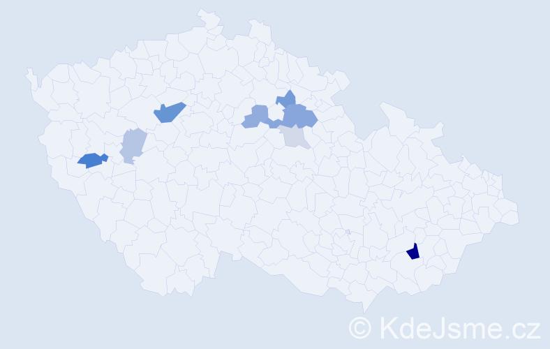 Příjmení: 'Kadrlová', počet výskytů 22 v celé ČR