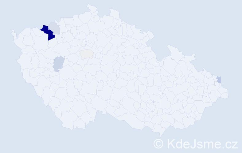 Příjmení: 'Danišíková', počet výskytů 17 v celé ČR