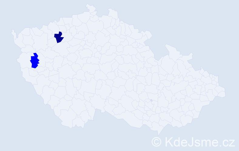 Příjmení: 'Géczyová', počet výskytů 6 v celé ČR