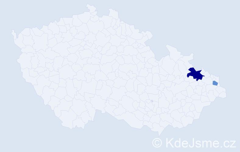 Příjmení: 'Čajnáková', počet výskytů 7 v celé ČR