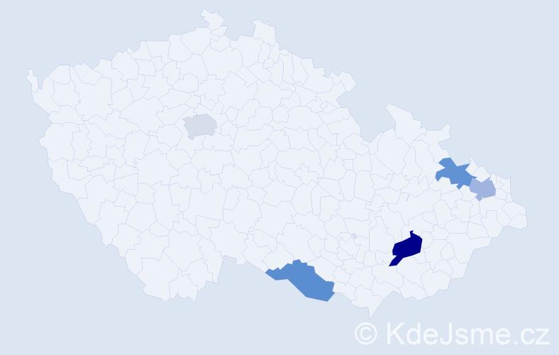 Příjmení: 'Emrichová', počet výskytů 6 v celé ČR