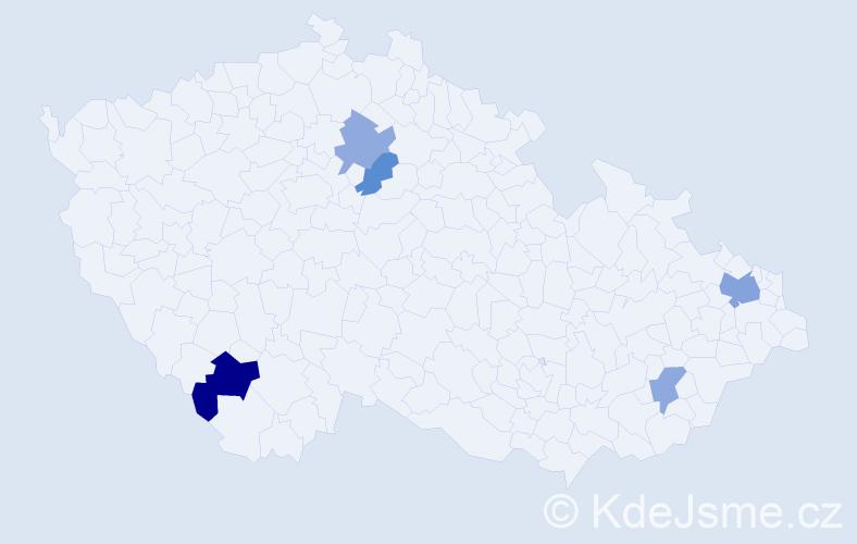 Příjmení: 'Bobka', počet výskytů 8 v celé ČR