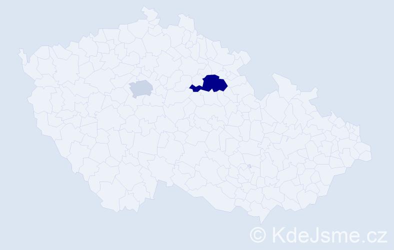 Příjmení: 'Čakányová', počet výskytů 3 v celé ČR