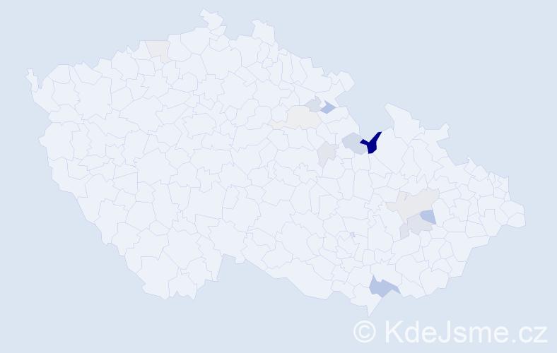 Příjmení: 'Malošek', počet výskytů 33 v celé ČR