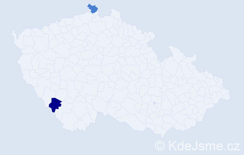 Příjmení: 'Beswick', počet výskytů 2 v celé ČR