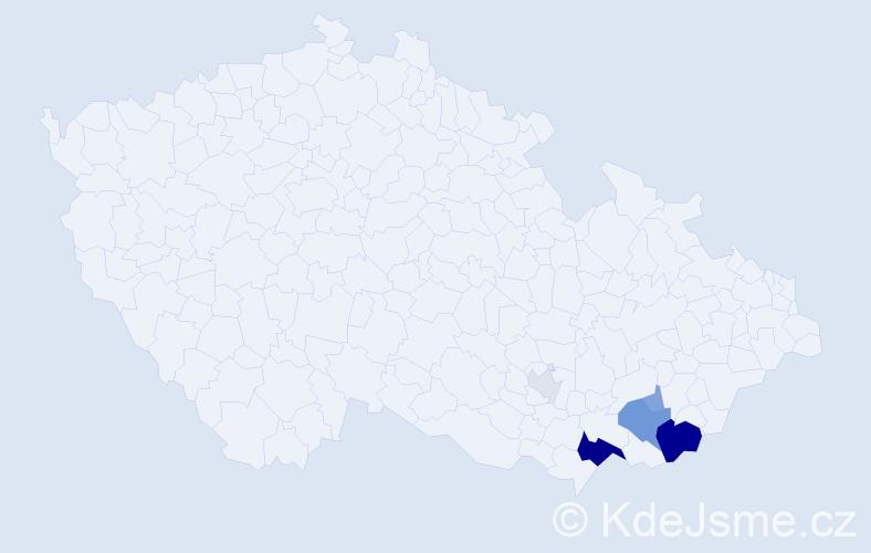 Příjmení: 'Dacíková', počet výskytů 18 v celé ČR