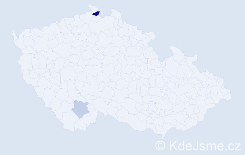 """Příjmení: '""""De Martino""""', počet výskytů 6 v celé ČR"""