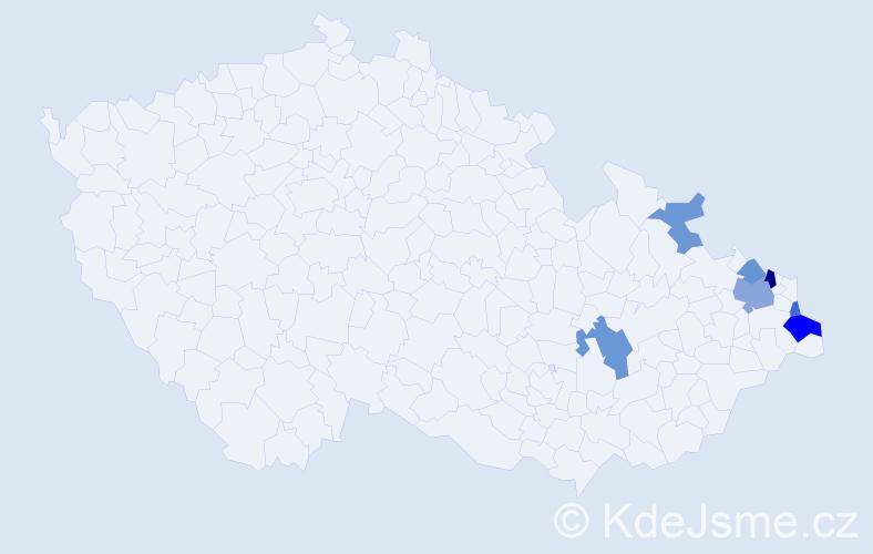 Příjmení: 'Brzuska', počet výskytů 13 v celé ČR