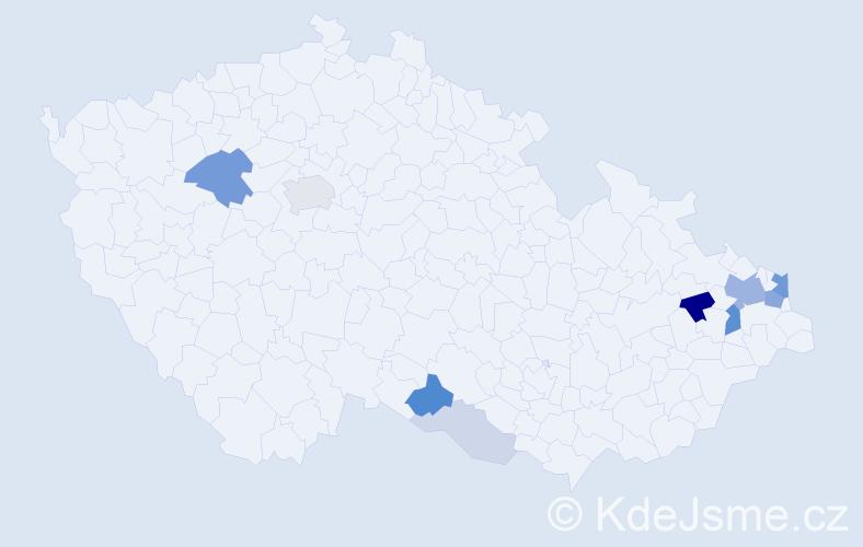 Příjmení: 'Gašperová', počet výskytů 28 v celé ČR