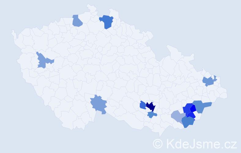Příjmení: 'Jahůdka', počet výskytů 44 v celé ČR