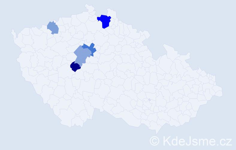 Příjmení: 'Keyř', počet výskytů 16 v celé ČR
