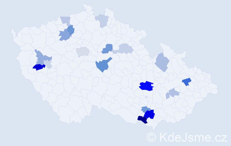 Příjmení: 'Hőnigová', počet výskytů 29 v celé ČR