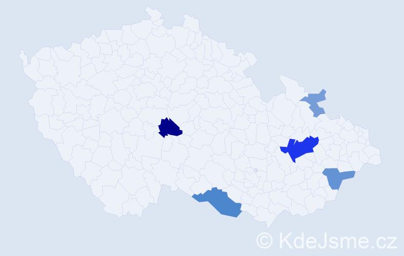 Příjmení: 'Čubák', počet výskytů 14 v celé ČR