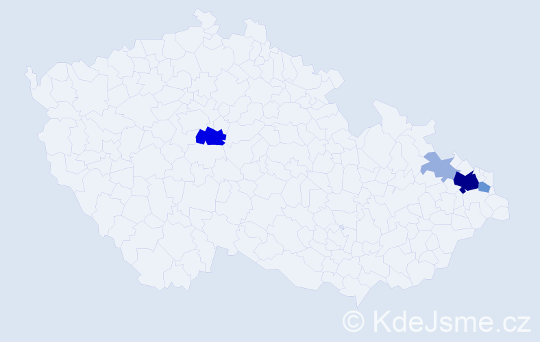Příjmení: 'Brašová', počet výskytů 19 v celé ČR