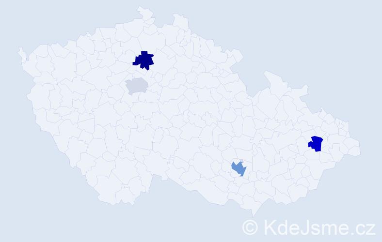 Příjmení: 'Berrada', počet výskytů 5 v celé ČR