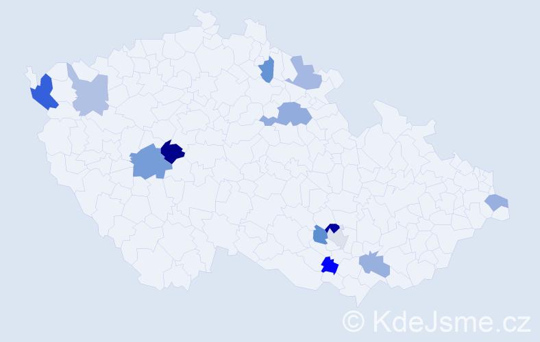 Příjmení: 'Jurdáková', počet výskytů 19 v celé ČR