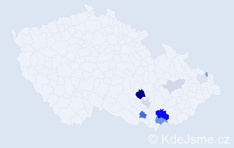 Příjmení: 'Hadamík', počet výskytů 19 v celé ČR