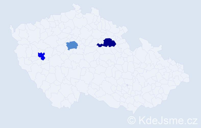 Příjmení: 'Kodídek', počet výskytů 5 v celé ČR