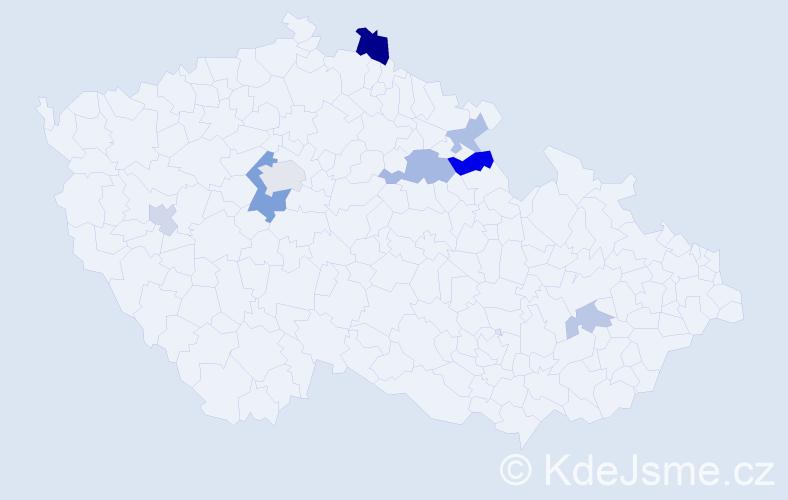 Příjmení: 'Dachs', počet výskytů 15 v celé ČR