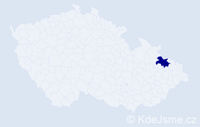 """Příjmení: '""""Bisagová Kubánková""""', počet výskytů 1 v celé ČR"""