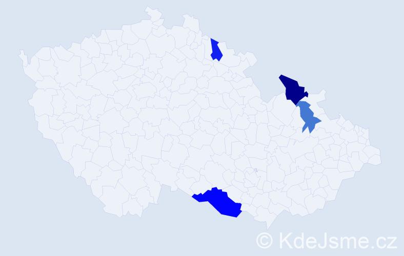 Příjmení: 'Čipkalová', počet výskytů 7 v celé ČR
