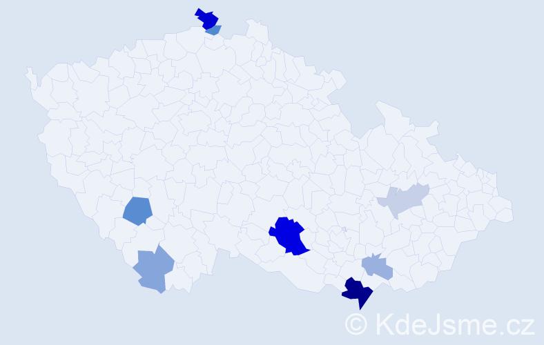 Příjmení: 'Billa', počet výskytů 21 v celé ČR