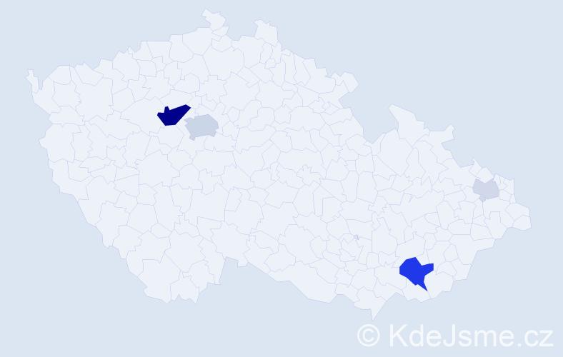 Příjmení: 'Kloček', počet výskytů 16 v celé ČR